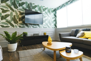 wall mounted tv in stylish living room