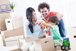 young family moving into house