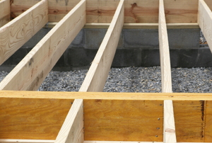 Floor joists in a construction project.