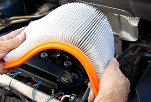 A clean air filter in a car