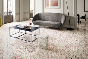 A marmoleum floor.