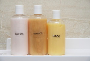 bottles of shower products