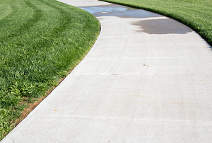 a concrete pathway bordered by grass.