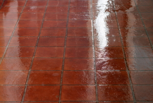 Reddish vinyl flooring with a bright shine.