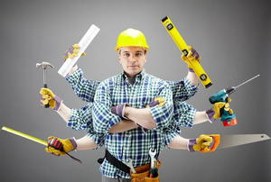 A handyman with many arms coming off of him holding tools.