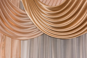 Rose gold colored silk curtains
