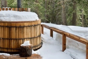 A wooden hot tub in winter.