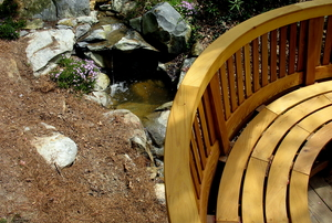 Curved built in deck bench