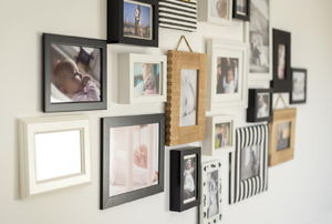 Wall of framed pictures