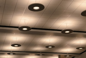 Several lights in a suspended ceiling