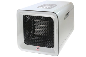 A ceramic heater on a white background.