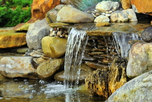 A pond waterfall.