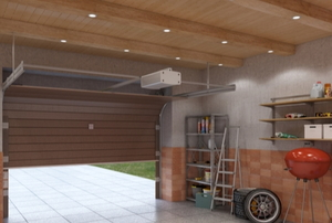 garage with beams