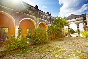The courtyard garden of the Hacienda Yaxcopoil. Yucatan, Mexico.