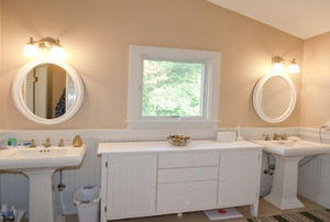 A clean white bathroom.