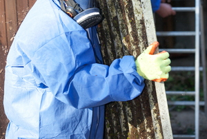A person in a blue safety suit carrying a piece of building material to be disposed of.