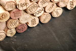 Pieces of cork stacked on a table