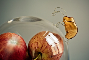 A bug made of an apple slice, sitting on a glass container filled with apples.