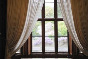 Window with two sets of curtains looking out to garden
