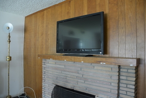 A back wall covered in wood paneling.
