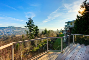 A deck with a scenic view.