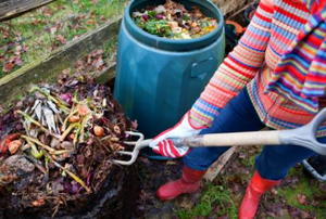 Woman using garden fork to remove uncomposted food waste from top of composting pile, before spreading the compost onto a vegetable garden.