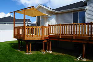 Deck with railing and canvas cover