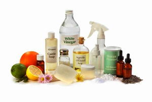 The basic ingredients and supplies needed to start making your own eco-friendly and all-natural household cleaners.