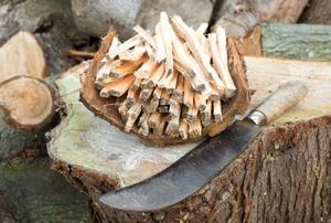A billhook next to wood