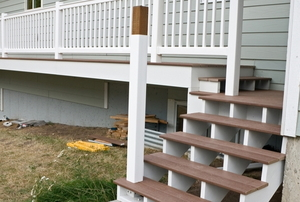 porch deck with posts and railings