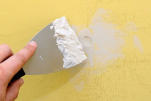 spackling on a yellow wall