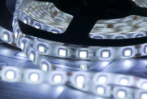 A lit LED light strip