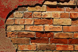 An old, red-brick wall.