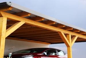 A metal carport.