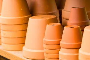 Stacked ceramic flowerpots.
