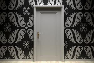 wallpaper around a white door