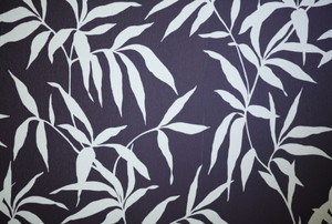 dark blue wallpaper with white leaves
