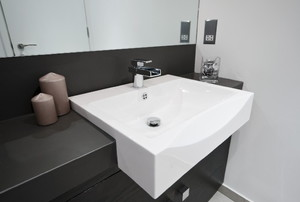 bathroom with large white sink