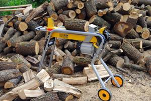 A hydraulic log splitter.