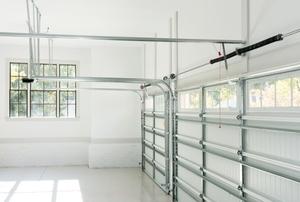 inside clean garage with metal door brackets