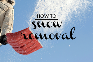 "A person throwing snow into the air with a red snow shovel and the words ""How To: Snow Removal."""