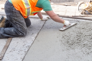 concrete being spread