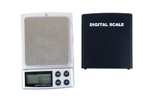 Digital pocket scale on a white background.