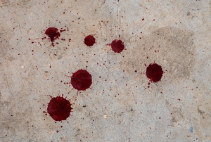 Drops of blood on a floor