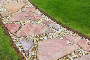 A flagstone and gravel walkway