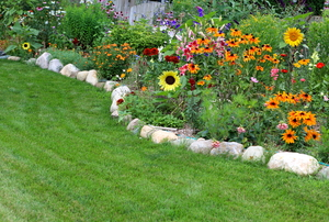 A stone paver flower bed.