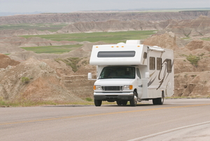 an RV on the road