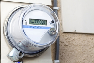 A digital electric meter.