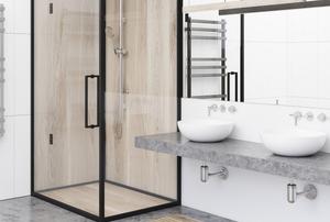 shower in corner next to sinks