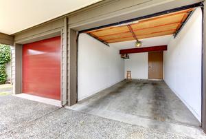 empty garage with door open